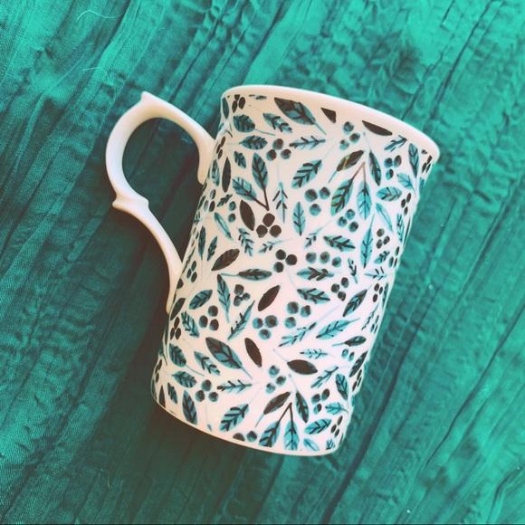 ❌SOLD❌ ⭐️BOGO Botanical Leafy Teal Blue Mug